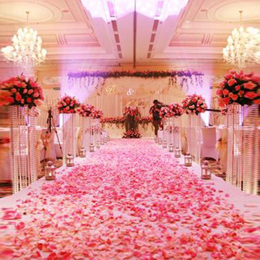 1000pcs Fashion Atificial Poliéster Flores para decoraciones de boda románticas Pétalos de rosa de seda Confeti Nuevo Viniendo Colorido
