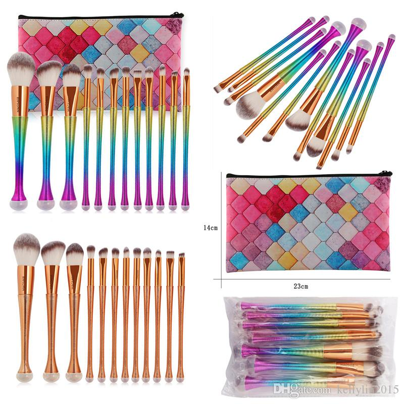 Mermaid Makeup Brushes 12pcs Cosmetics Eyeshadow Powder Foundation Brush Rose Gold Multipurpose Rainbow Make up Brushes Sets Kits with Bag