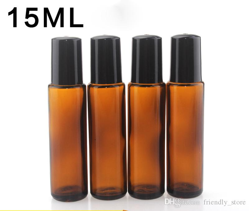 DHL Free 15ml Amber Glass E Liquid Essential Oil Bottles with Black Screw Cap With Metal SS Roller Glass Roller Ball For Perfume