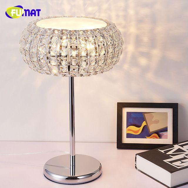 FUMAT K9 Crystal Table Lamp Modern Brief Crystal Lamp Bedside Living Room Decorative Desk Light Creative Art LED Lustre Lamp