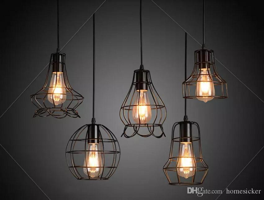 NOUVEAU ARRIVALES Rétro Pendentif en fer léger Lampes LOFT E27 Œuvres à oiseaux LED Pendentif industriel Lumières suspendues Lampe de luminaire Bar Cafe Restaurant Store