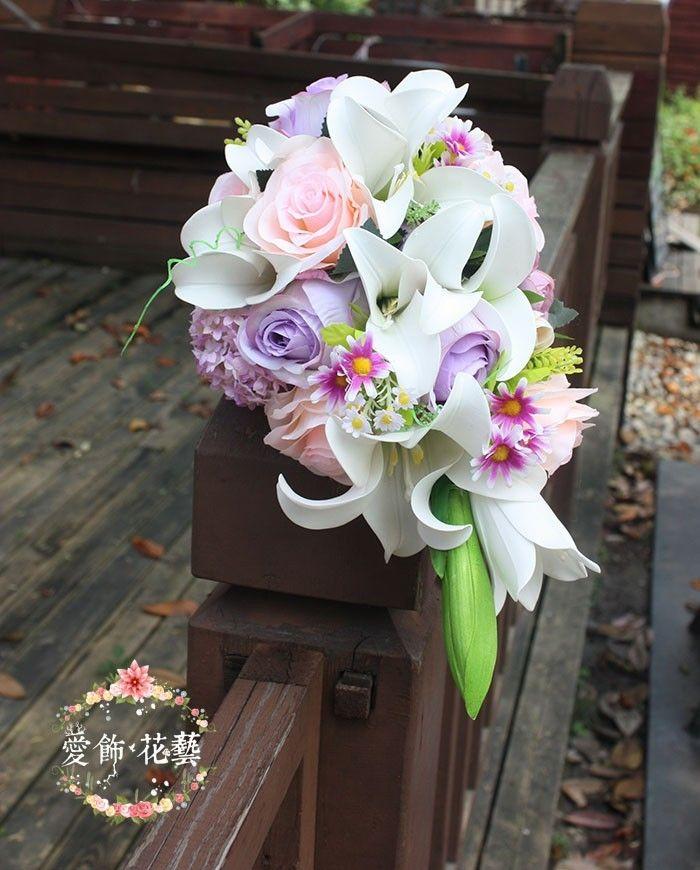 Bouquet Fleur Mariage Waterfall Artificial Wedding Bouquets Pink Purple Wedding Flowers Bridal Bouquets Roze Bride Bouquets New Arrival June Wedding
