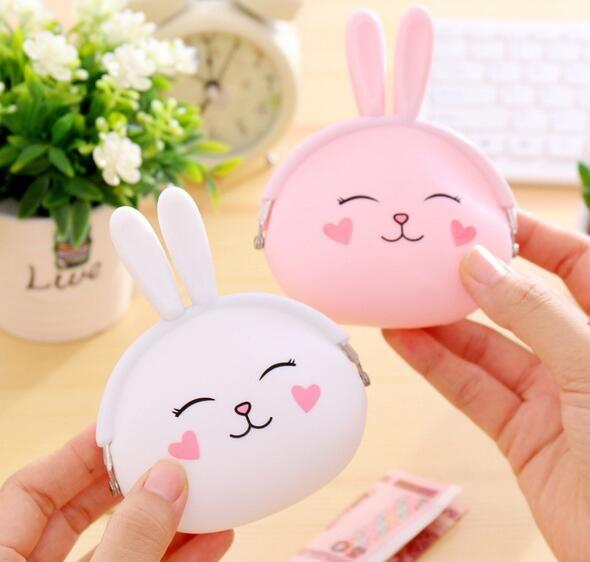 귀여운 화이트 핑크색 실리콘 동전 주머니 토끼 동전 주머니 포켓 현금 가방 키즈 선물 현금 지갑