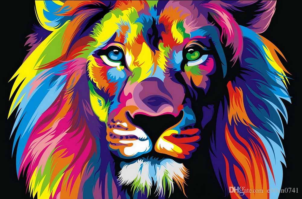 Home Office Dekoration Wohnzimmer Kunst Wanddekor HD Druckt Tierfarbe Lion King Ölgemälde Bilder Auf Leinwand Gedruckt