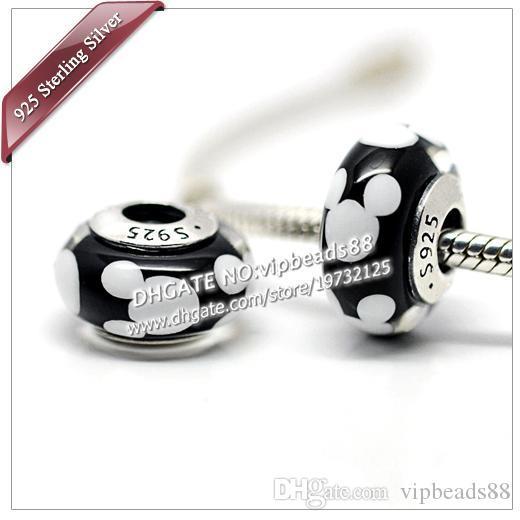 S925 gioielli moda in argento sterling M-key ritratto perline in vetro di murano misura europeo fai da te pandora bracciali charm collana 306