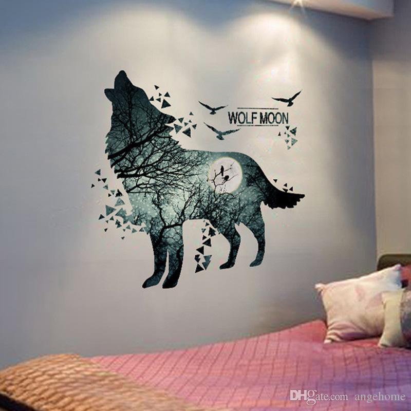 Lobo lua floresta adesivo de parede-pvc material moderno diy decoração da parede para sala de estar quarto decoração mural art