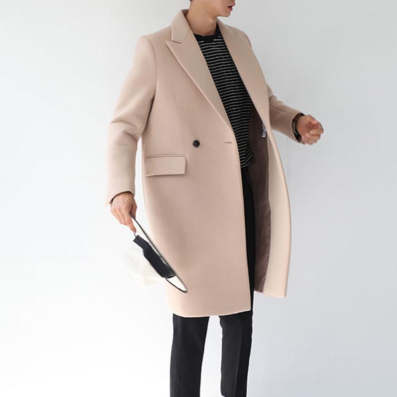 Vente en gros-2017 automne hiver laine manteau coton padden épaissir veste en laine style coréen mâle long coupe-vent veste