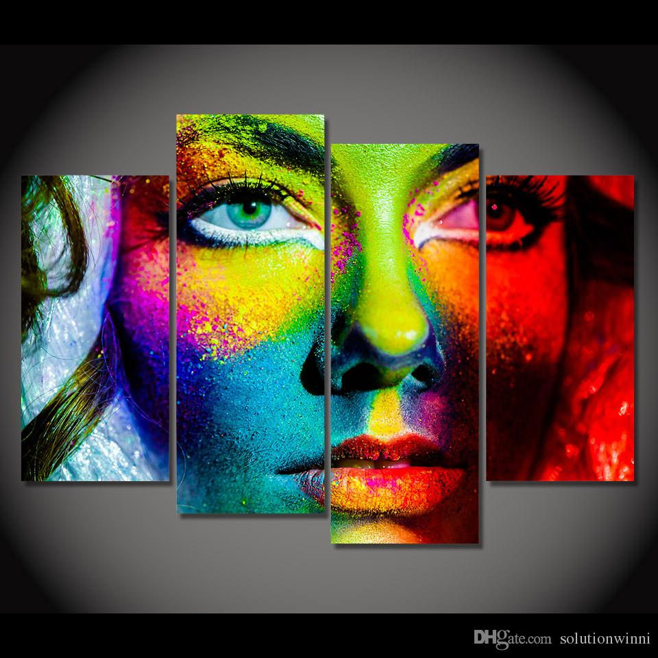 2019 Hd Printed Canvas Prints Color Face Makeup Painting Art Poster Room Decor Wall Picture For Living Room Xa392d From Solutionwinni 35 69