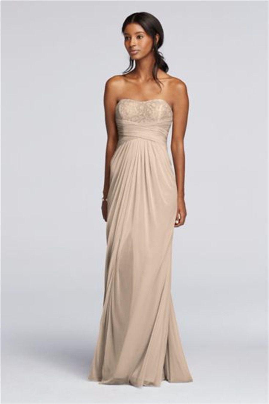 Strapless Champagne Chiffon Bridesmaid Dresses