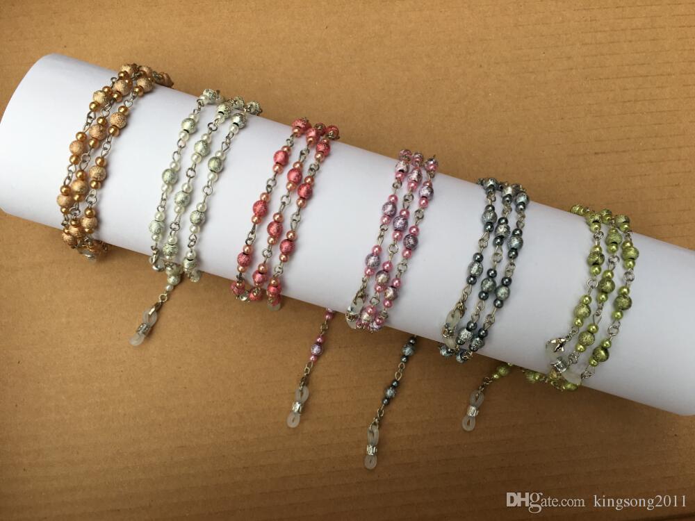 6 peças / titular espectáculo cadeia retentor muito colorido frisado de óculos com laço de silicone 6 cores disponíveis