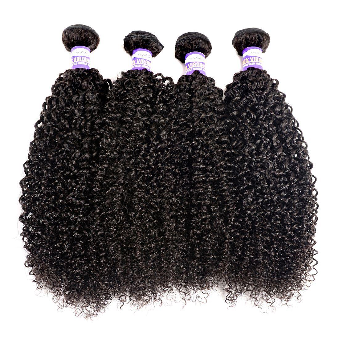 9A Brasilianisches menschliches Haar verworrene lockige jungfräuliches Haar 3 4 Bündel kinky lockige menschliche Haarverlängerungen