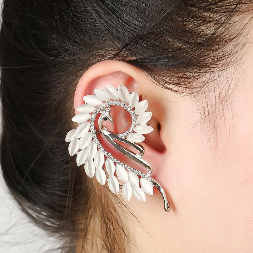 Peacock Cat's Eye Fashion Clip Earrings Left Right Personality Earring Clip Ear Cuff Earring Jewelry FY137