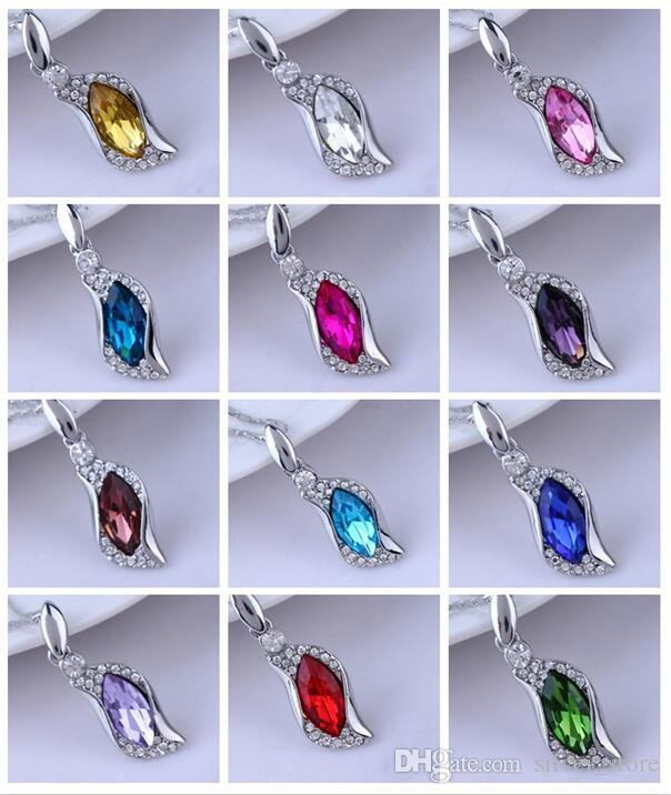 Good A++ Austrian Crystal Horse Eye Link Women's Alloy Pendant WFN100 (with chain) mix order 20 pieces a lot