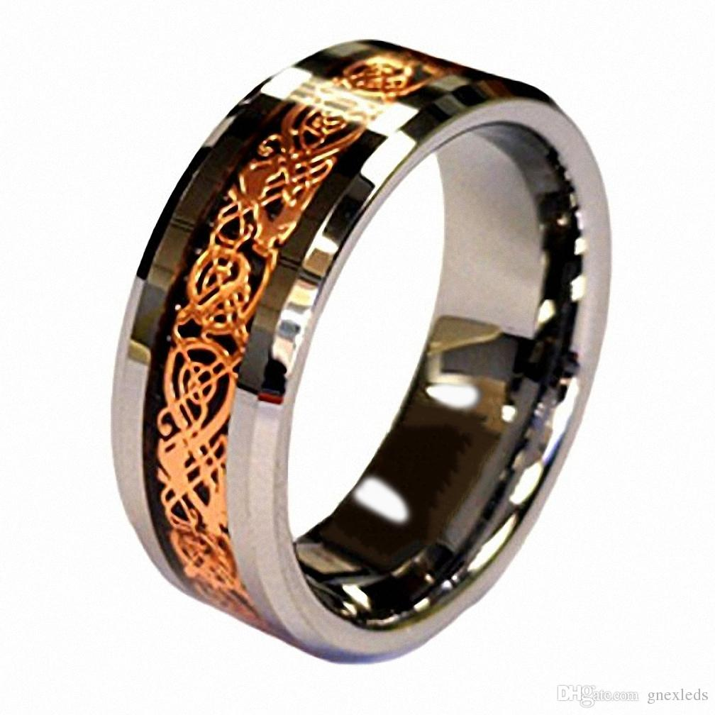Infinity Wedding Band.2019 Mens Engagement Rings Infinity Wedding Rings Jewelry 18k Rose Gold Plated Celtic Dragon 8mm Tungsten Carbide Wedding Band Ring Men S Jewelry From