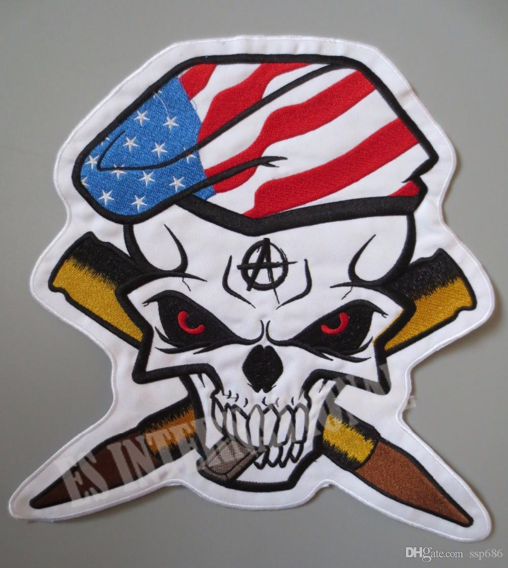 11.2 inches large Embroidery Patches for Jacket Back Vest Motorcycle Club Biker MC Sew on Skull Bullets USA flag