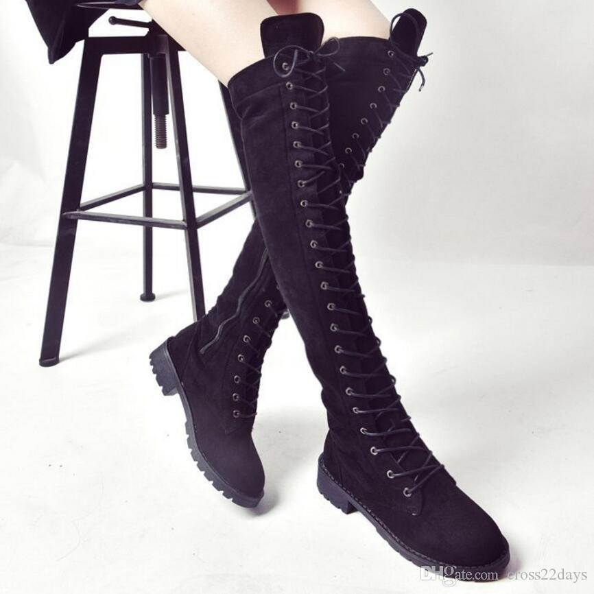 top design exclusive range more photos Lace Up Thigh High Boots Women Flat Heel Suede Leather Long Boots Punk  Style Over The Knee Boots Cross Tied Botas Mujer A82 Wedge Shoes Boots  Online ...