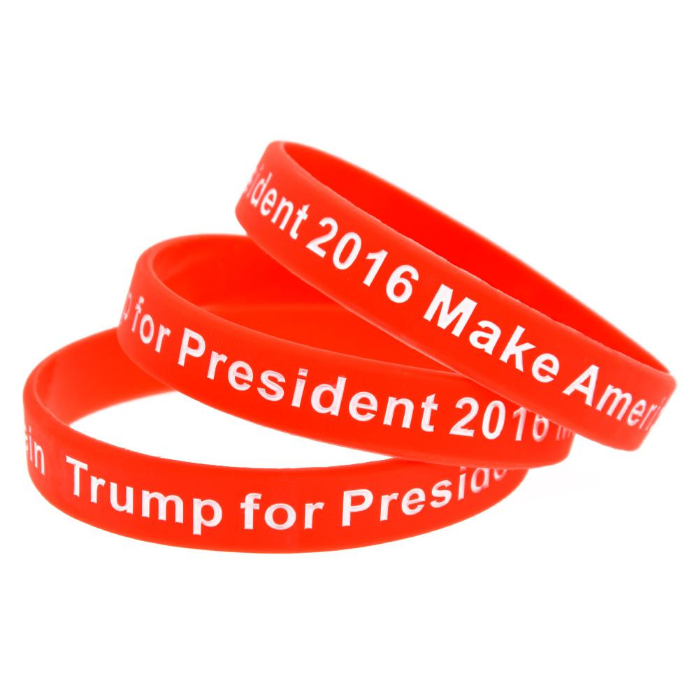 100 Make America Great Again Wristbands Debossed /& Color Filled Trump Bracelets