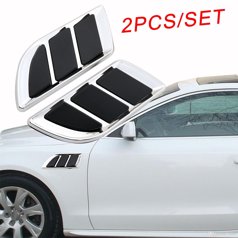 2шт хром авто мотор модель двери крыло части 3D украшения моделирование вентиляционное отверстие на входе решетка наклейка