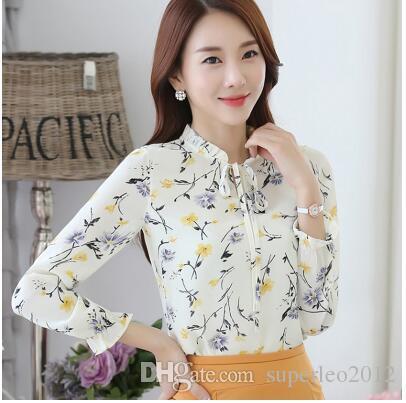 Mulher Floral Impresso Casual Chiffon Blusa de Manga Longa Camisetas femininas Chiffon Pullover Pullover Camisas de Impressão Floral Tops 3 Cores LLYJ