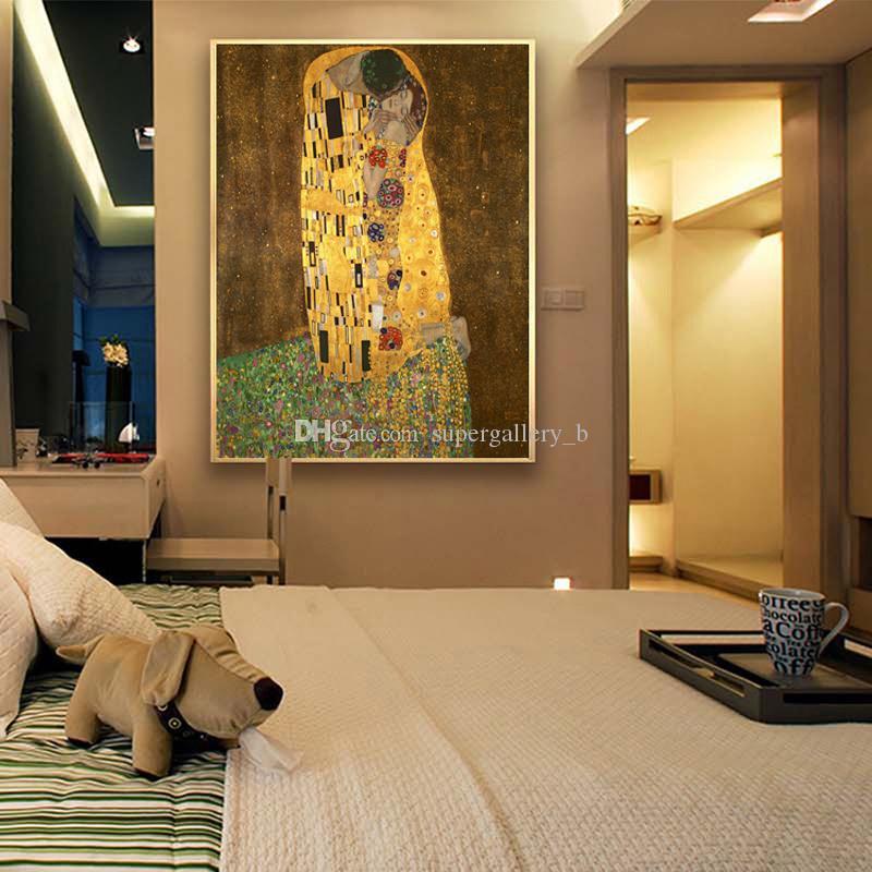 Густав Климт - Портреты поцелуев молодых влюбленных, ручная роспись абстрактного искусства масляной живописи Высокое качество холста домашнего декора размер можно настроить