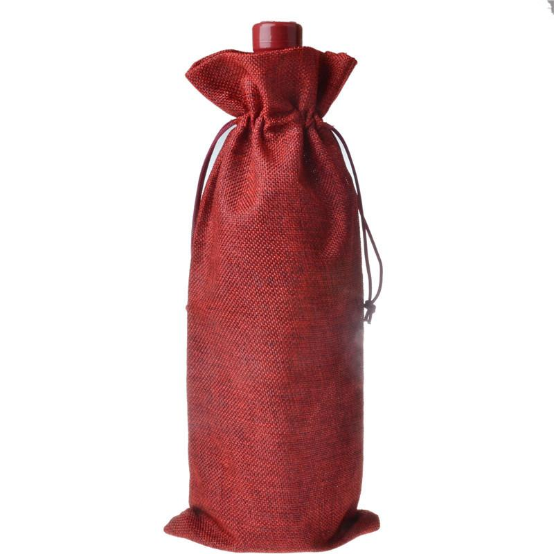 300PCS 2017 16 * 36cm Linen Drawstring wine red Bags wine bottle packaging jute red wine pouches custom logo