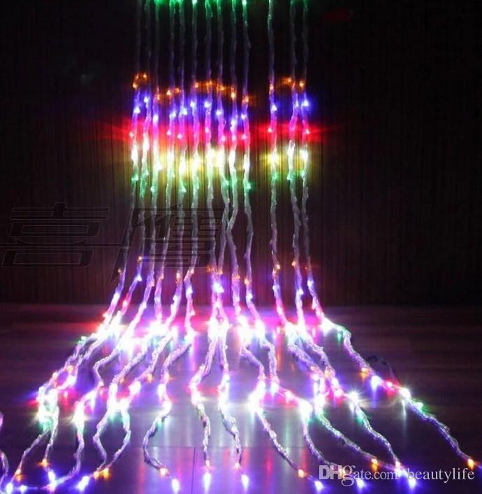 3 متر × 3 متر 336LED حفل زفاف عيد الميلاد سياق عطلة شلال المياه تدفق المياه الستار أدى سلسلة ماء ac 110 فولت / 220 فولت
