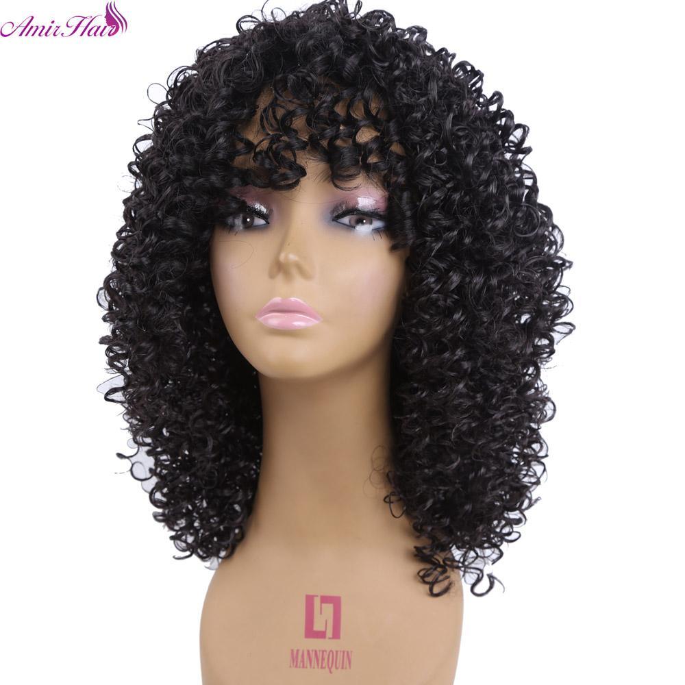 Amir Hair Medium Length Kinky Curly Synthetic Wigs For Black Women Pixie Cut Wig Natural Black Hair Cosplay Peruki Damskie