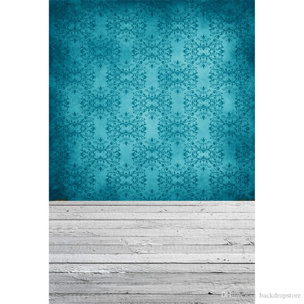Turquoise Green Damask Photography Backdrops Vinyl Fabric Baby Newborn Photo Shoot Wallpaper Kids Studio Portrait Background Wood Floor