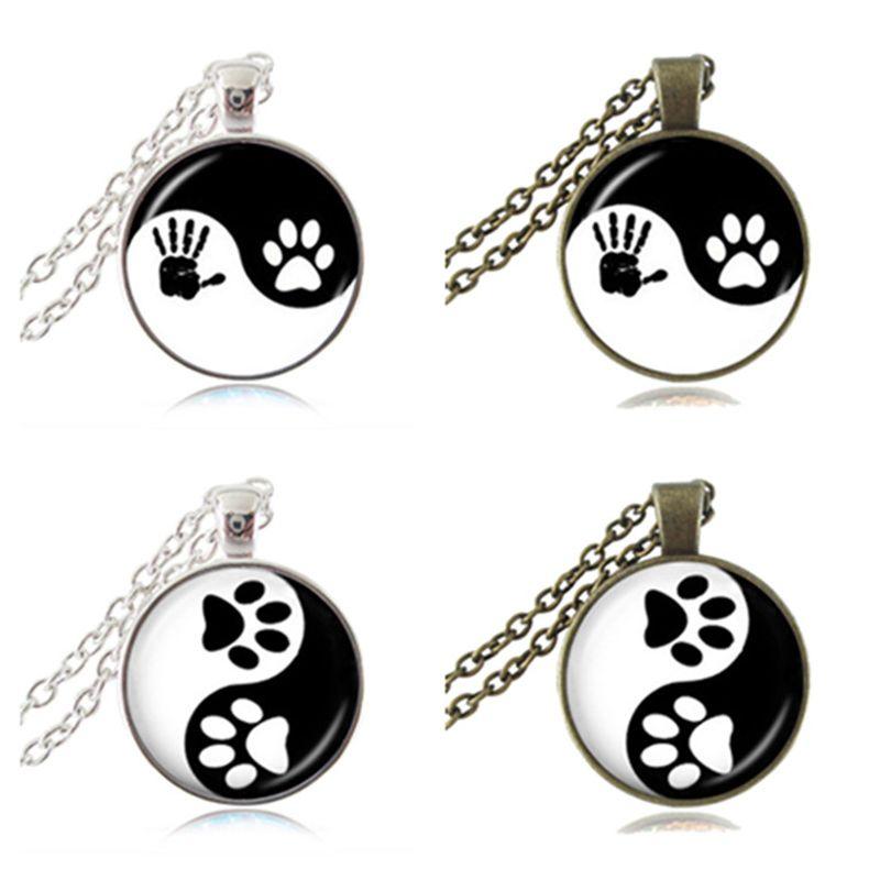Yin Yang Collana Pet Zampa Stampa Ciondolo Handprint Art Charm Tai Ji Gioielli Zen Religioso Ying Yang Collana Regali per Cane Amante degli animali