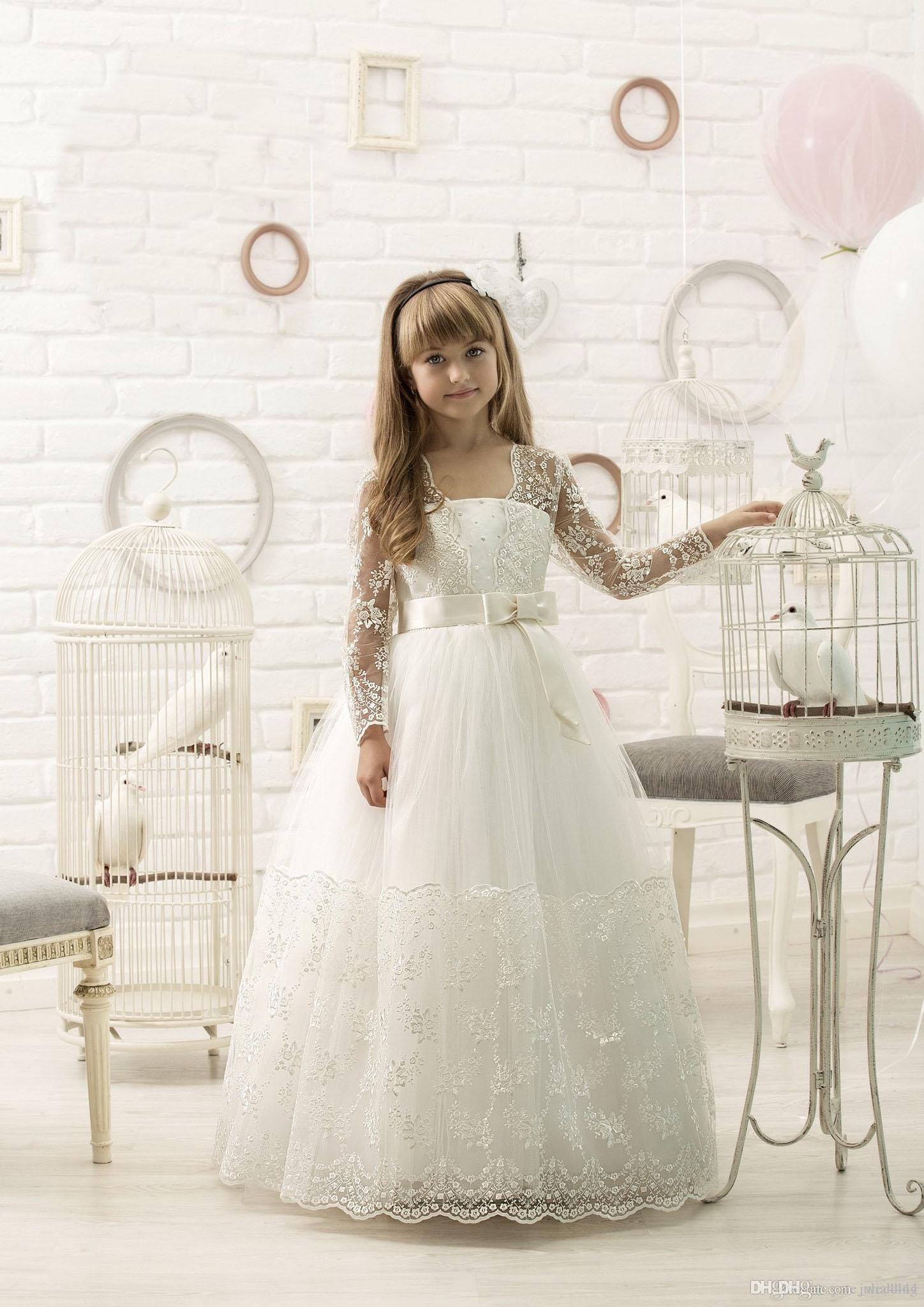 Großhandel Stunning Long Sleeves Blume Mädchen Kleider für ...