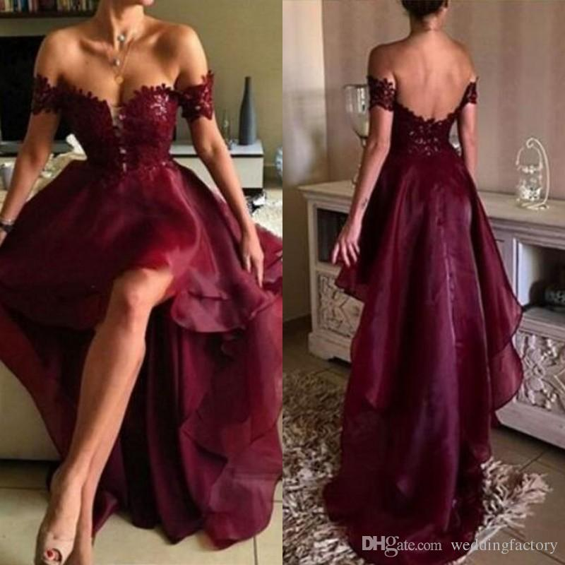 Popular Burgundy High Low Prom Dress Lace Appliques Off the Shoulder Sweetheart Short Front Long Back Formal Party Gowns