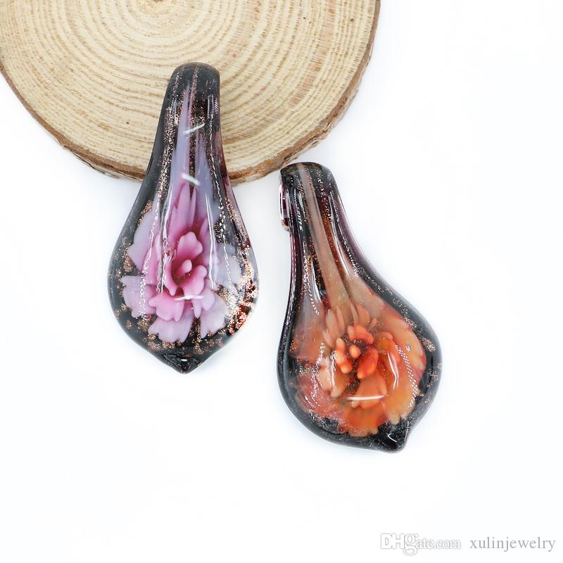 Striking Inner Flower Pendants Lampwork Handmade Murano Glass Drop Shaped Beads Made By Hand 12pcs/box, MC0081