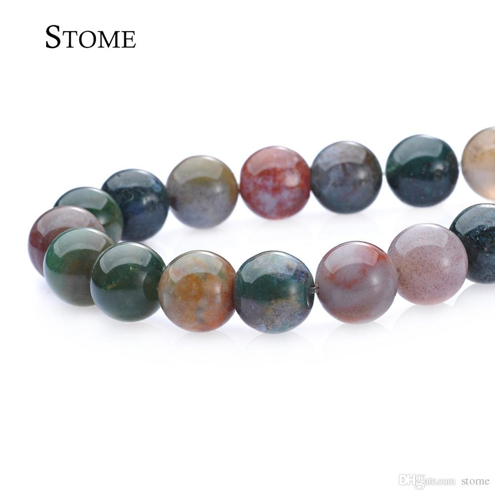 4-14MM Natural India Agate Round Loose Beads Gemstone For Jewelry Making S-100 Stome
