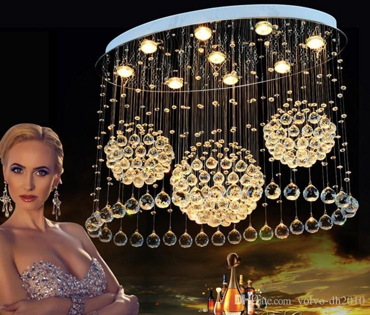 Plafoniere moderno LED per soggiorno Art Crystal Celling lampade ovale Rettangolare pranzo Camera da letto lighs fissaggio lanterne LLFA