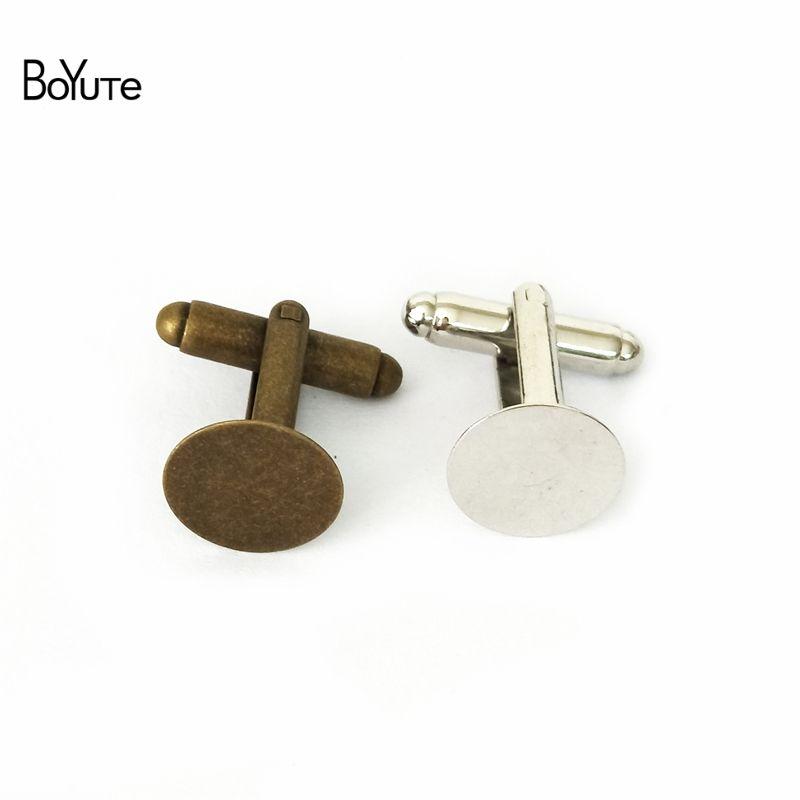 BoYuTe 20Pcs Bronze Silver Gold Plated Round 15MM Flat Pad Cabochon Cufflinks Blank Bezel Tray Diy Jewelry Making Materials