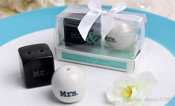 Cube Cylinder Ceramic Mr. Mrs. Salt and Pepper Shakers White Black Shaker Kitchen Tools Party Favors Wedding Favor Gift