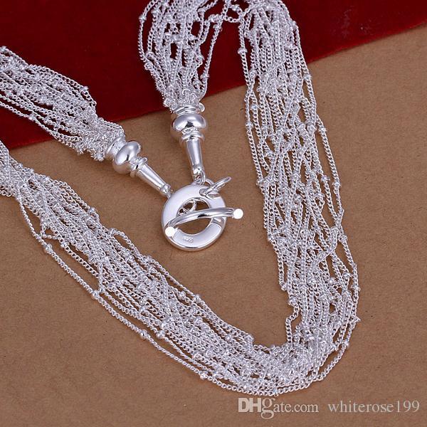Hurtownie - Detaliczna Najniższa cena Boże Narodzenie Prezent 925 Srebrny Moda Biżuteria Darmowa Wysyłka Naszyjnik N44