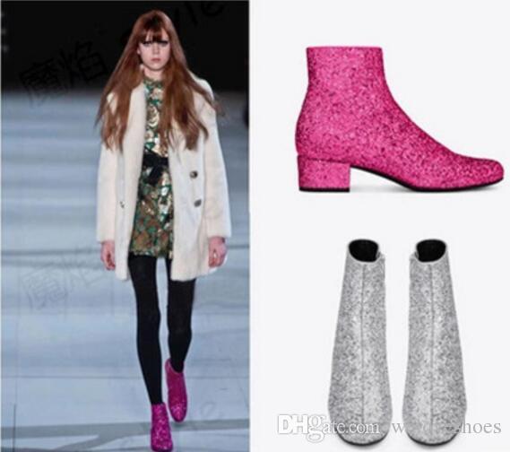 반짝이는 발목 부츠 여성용 라인 석 신발 Low Heel 섹시한 지적 발가락 부티 골드 은색 핑크 botas mujer 플러스 빅 사이즈 Winter Autumn