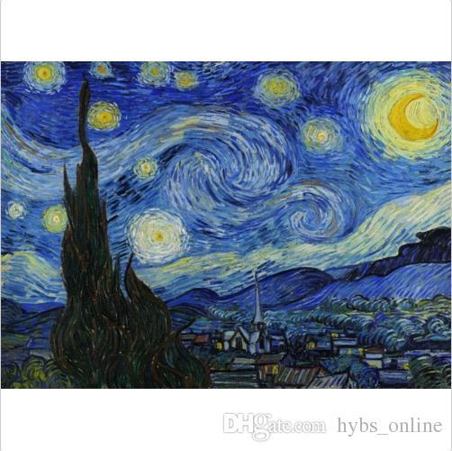 Emoldurado Puro Pintado À Mão Vincent Van Gogh-Starry Night Arte Abstrata Pintura A Óleo, na Lona de Parede de Alta Qualidade Retrato Da Arte Vários tamanhos