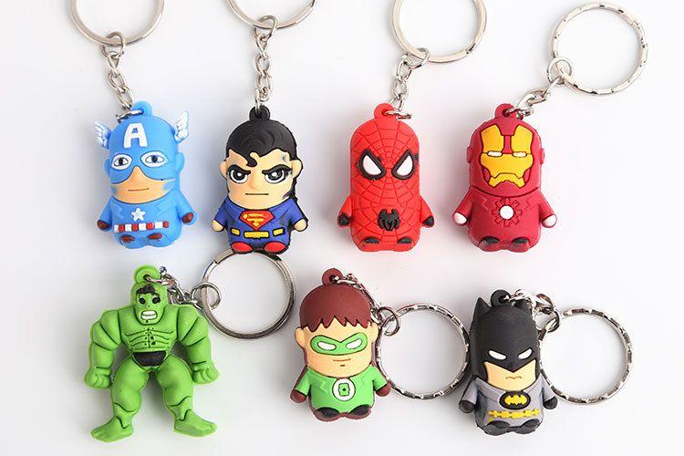 Hot Superman Batman Spider-Man cartoon anime boy Keychain sided soft toys for kids 7PCS=1LOT free shipping