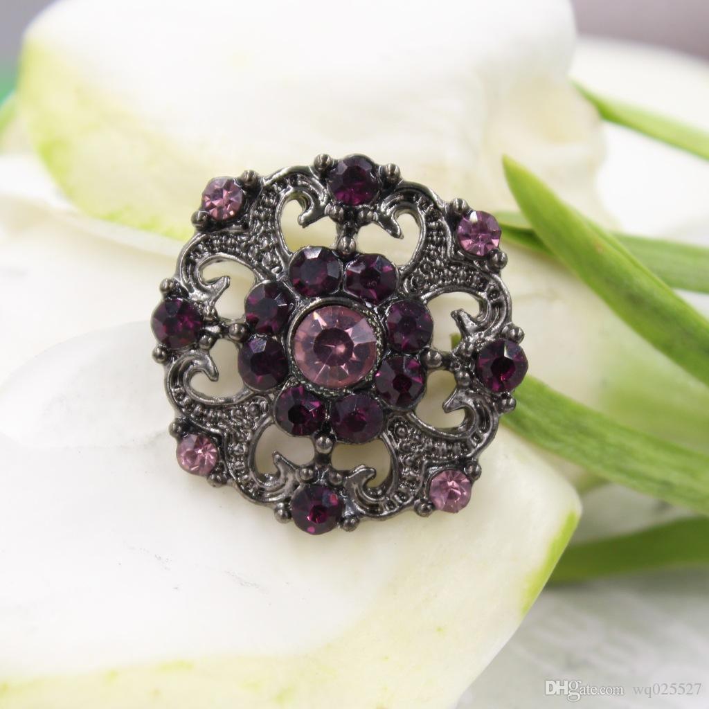 Hermosos botones de diseño de flores exquisitas, aleación con incrustaciones de botón de diamantes de imitación, botones de bricolaje, gemelos de todos los partidos 50pcs / lot freeshipping # 01302 #