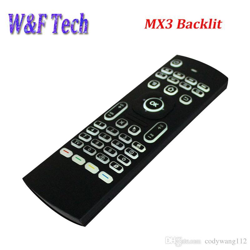 x8 공기 비행 마우스 MX3 백라이트 2.4GHz 무선 키보드 원격 제어 Somatosensory IR Android TV 용 마이크없이 6 축 학습