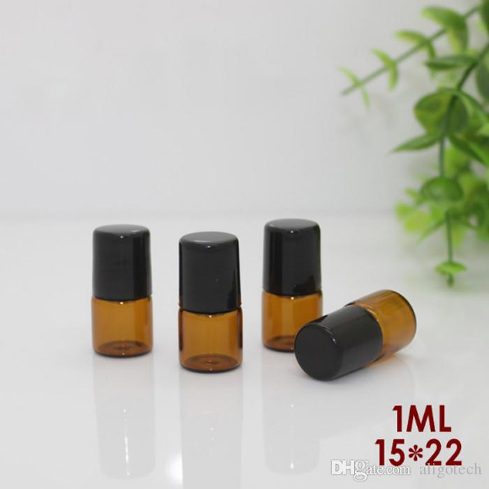 600Pcs/Lot 1ml Roll-On Empty Glass Bottles Amber Roll Metal Roller Ball Bottle Essential Oil Liquid fragrance Bottle Free DHL Shipping