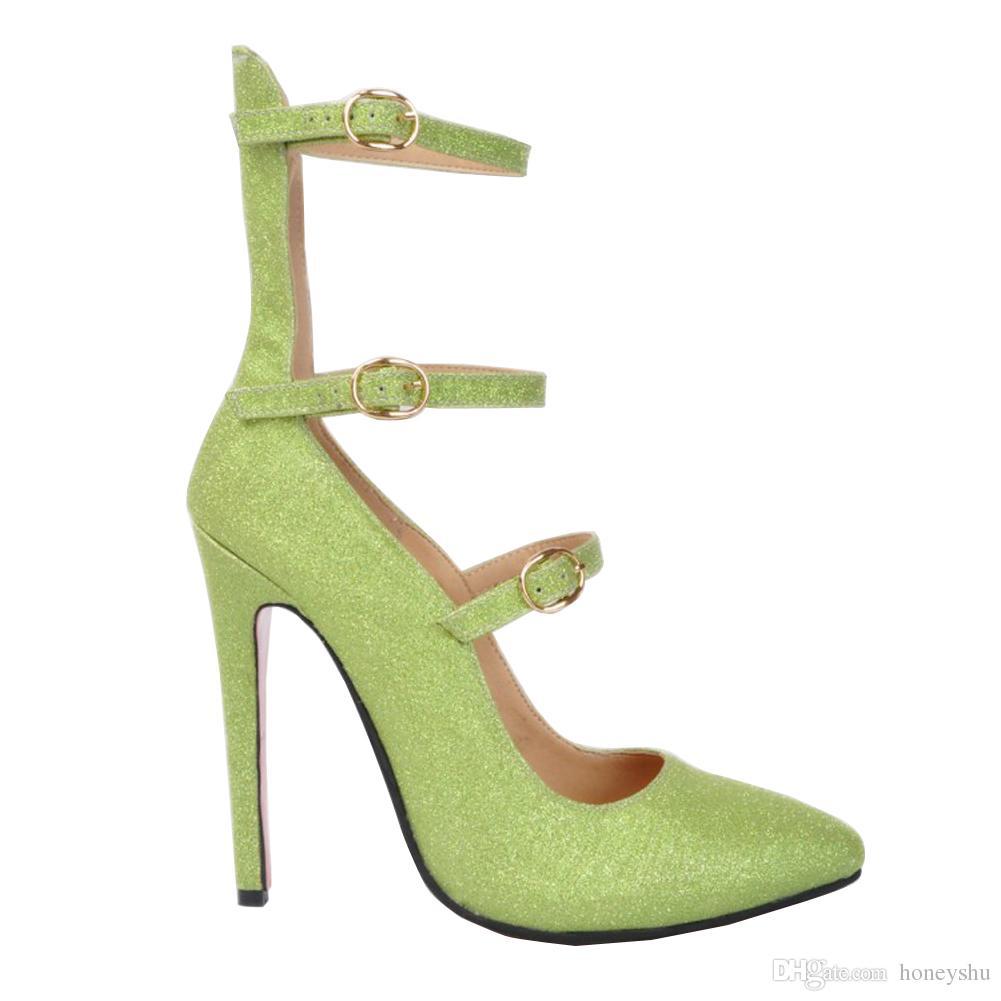 Kolnoo Womens Fashion Tacco alto Pompe Tre fibbie scarpe da sera punta a punta Glitter Estate Scarpe verde XD282