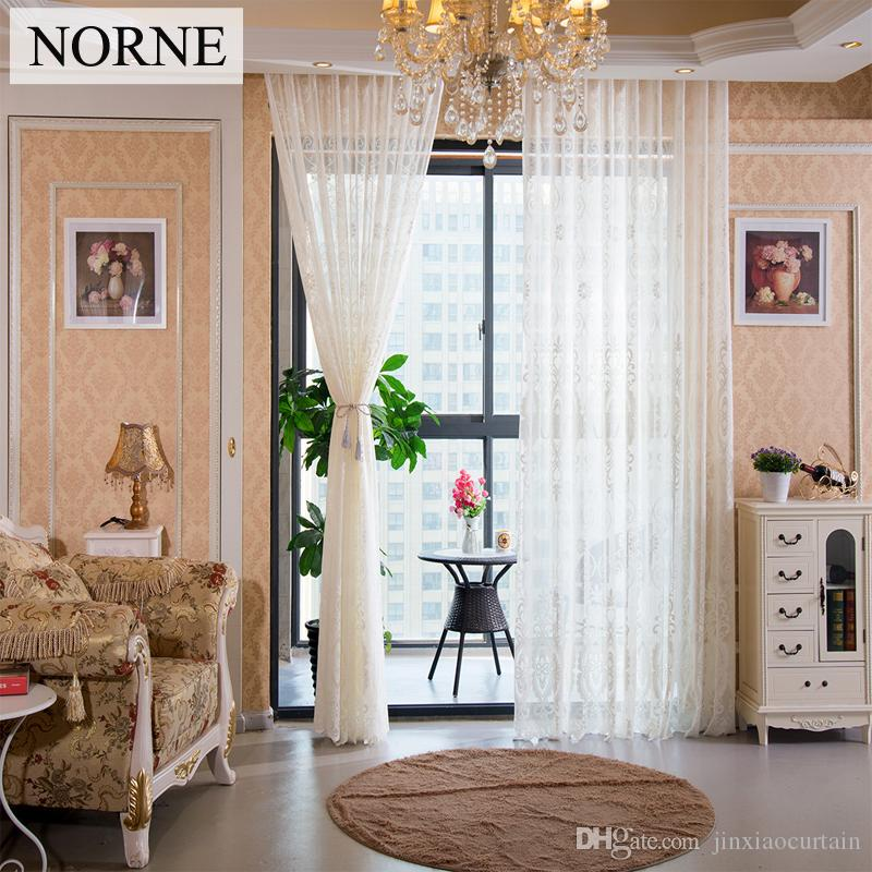NORNE Window European style Drapes for Bedroom Living Room Kitchen Door Blinds Semi Royal court Lace Tulle Voile Sheer Curtains Panel