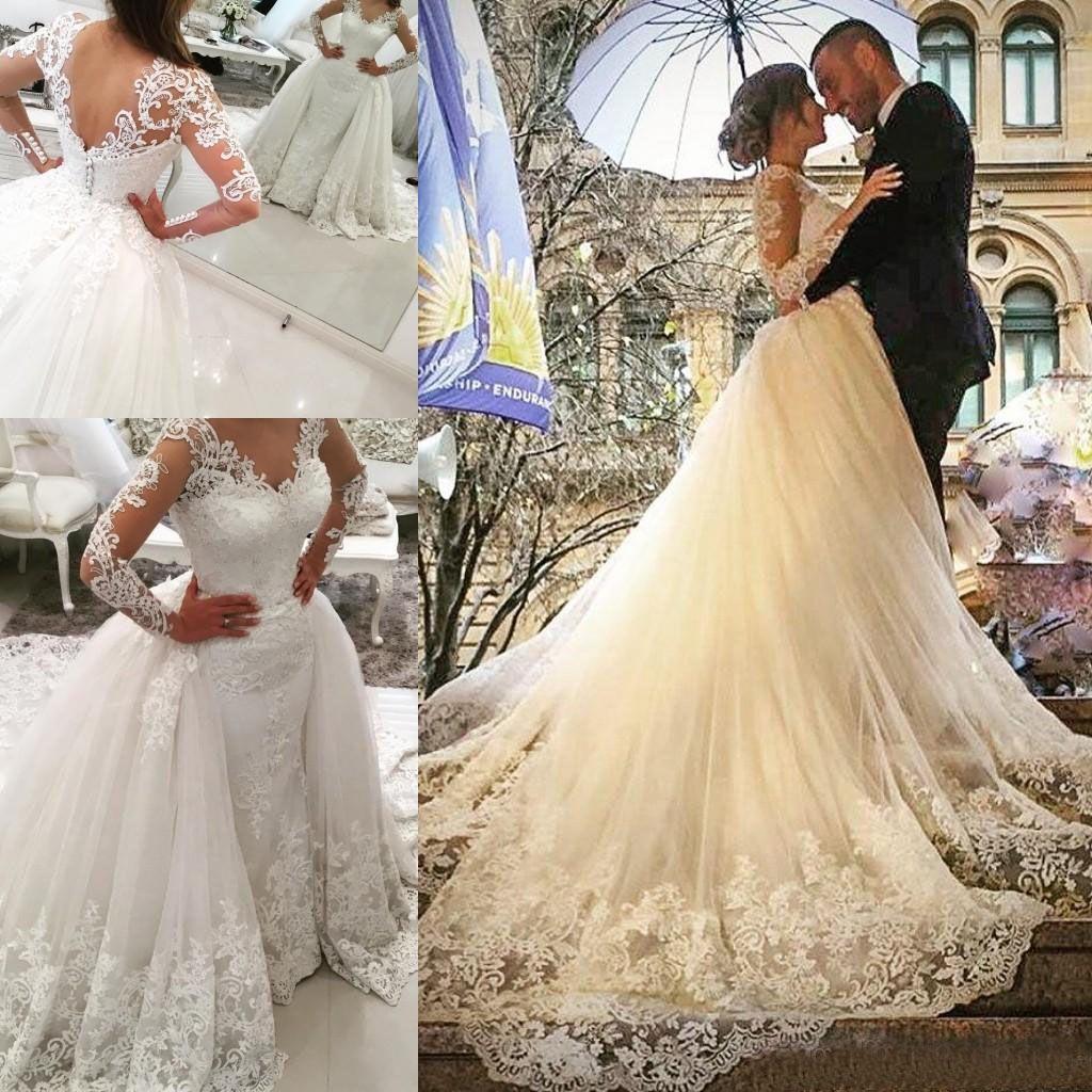 Скромный 2017 кружева аппликация Overskirt свадебные платья со съемным поездом с длинным рукавом тюль свадебные платья на заказ фарфора EN12169