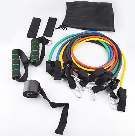 11 conjuntos de látex de fitness estiramento corda equipamentos de fitness set rally