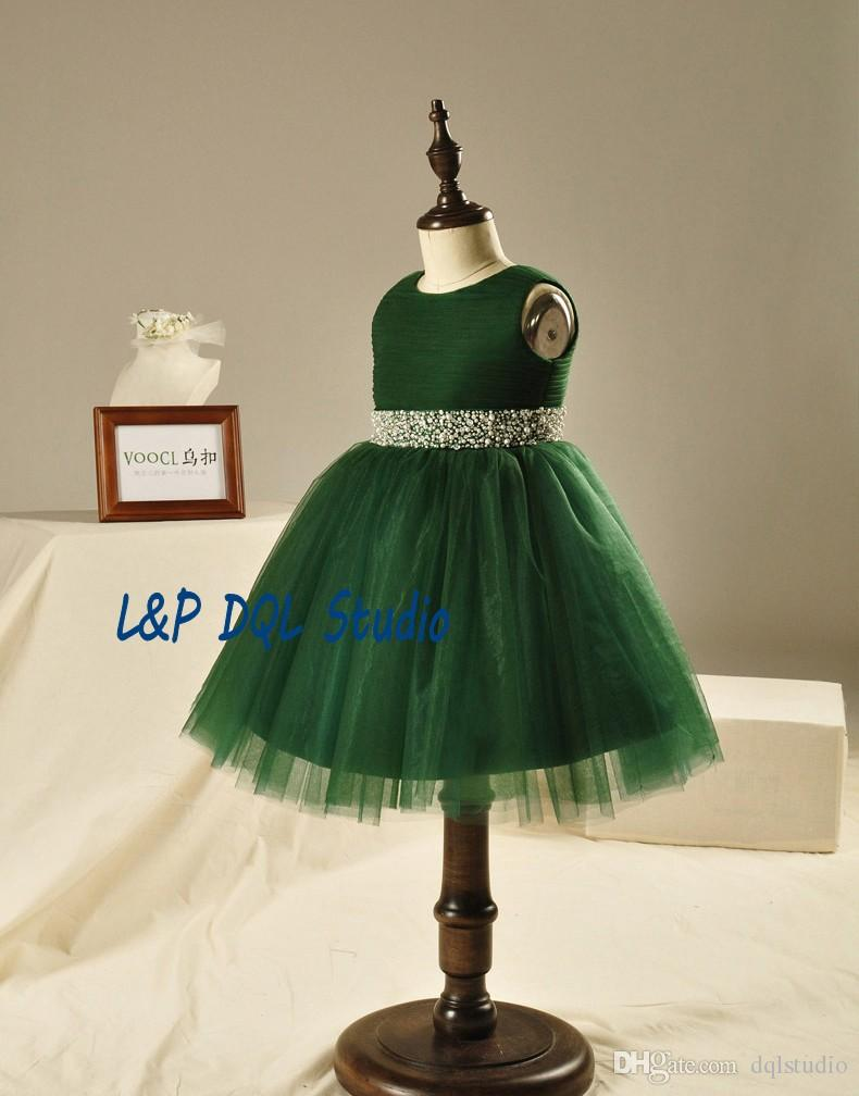 Tea-Length Flower Girls Dresses Dark Green Ball Gown Girls Pageant Dresses with Sparking Sash Crystal with Beads Pearls Girls Party Gowns