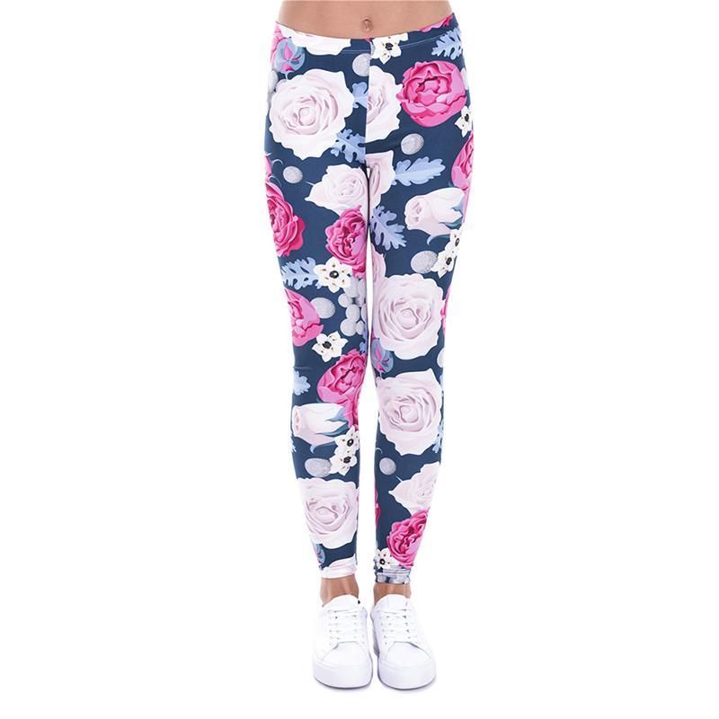New Womens Skull Rose Print Full Length Stretchy Skinny Leggings Pants