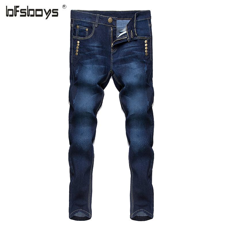 Al por mayor-2016 nuevos hombres blancos Blue Jeans Robin Men Jeans Slim Denim Skinny lápiz pantalones Cowboy High Fashion Famous Design